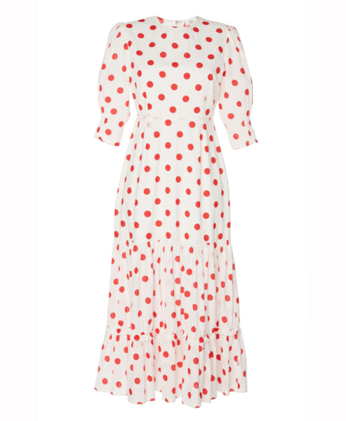 Rixo London- Matilda Red Maxi Spot Midi Tiered Dress -Studio B Fashion