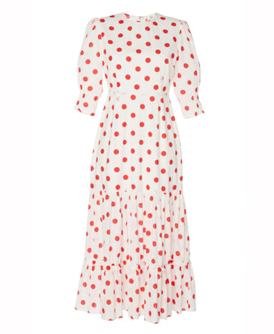 Matilda Red Maxi Spot Midi Tiered Dress