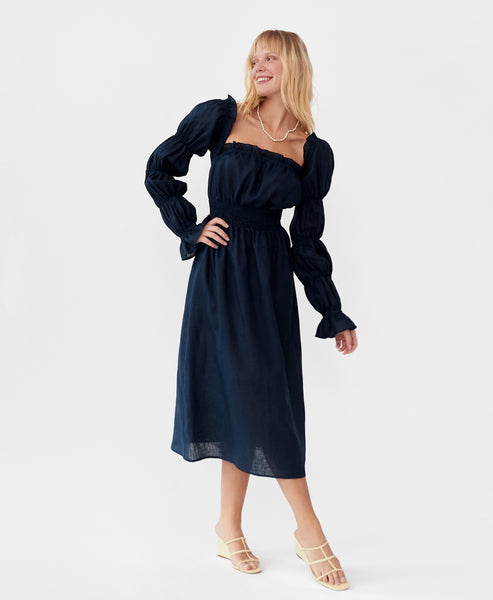 Sleeper. Michelin Linen Dress in Navy. Studio B Fashion