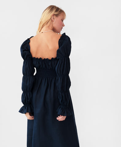 Sleeper Michelin Linen Dress in Navy