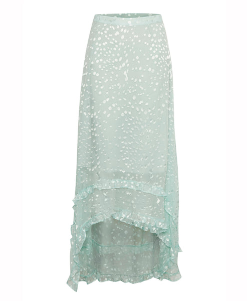 Merika Mint Green Jacquard Midi Skirt
