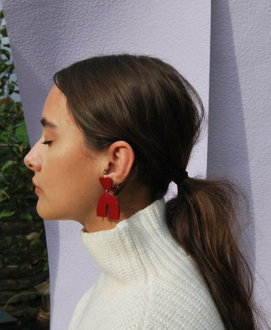Red Chunky Heart Earring