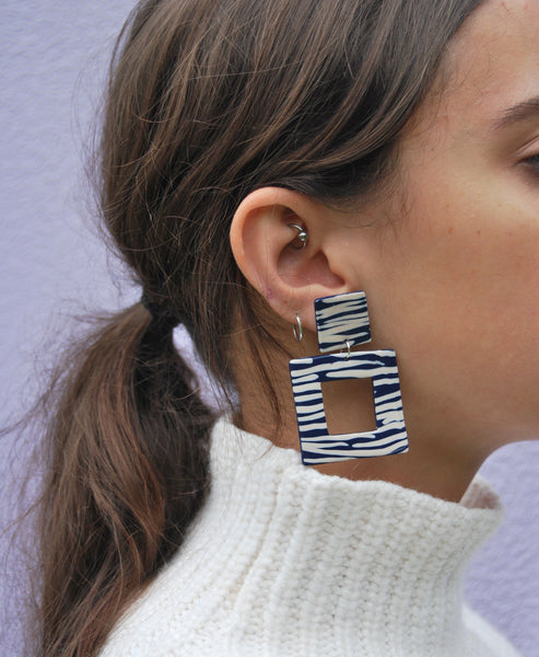 Studio B x Night Time Holiday -Exclusive Polymer Clay Printed Earrings - Navy Zebra Stripe Printed Square Earrings handcrafted by Nighttime Holiday exclusively for Studio B