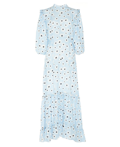 Monet Blue Leopard Daisy Midi Tiered Dress