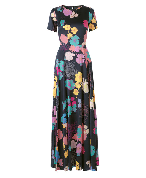 Stine Goya - Nanna Silk Maxi Dress Flowers Dark Print - Studio B Fashion