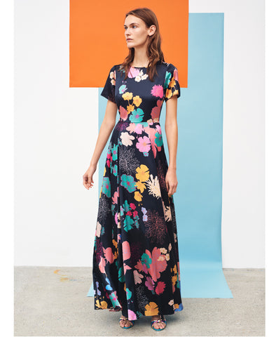 Nanna Silk Maxi Dress Flowers Dark Print