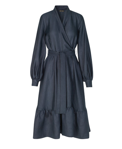 Niki Wrap Dress Shiny Midnight Blue