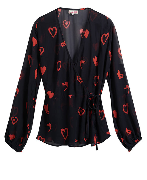 Radish - Nova Wrap Top Black and Red Love Heart - Studio B Fashion