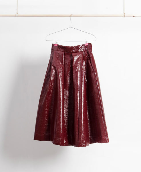 Burgundy Lacquered Full Skirt