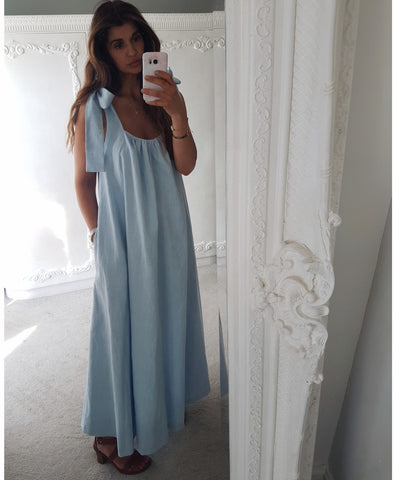 Perla Blue Linen Dress