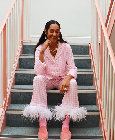 Sleeper Party Pyjama Set with Feathers in Pink Gingham