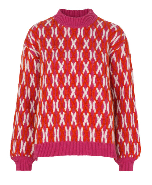 Stine Goya. Anders Sweater Cable Knit Red Pink and White. Studio B Fashion. Stine Goya SS20