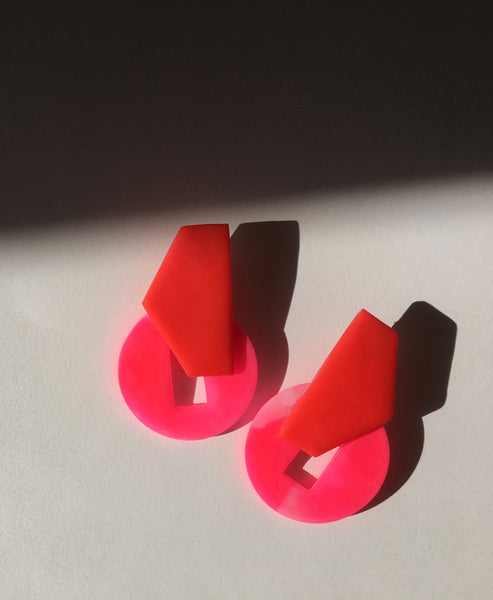 Hattie Buzzard - The Elva Earrings Red Pink - Studio B Fashion