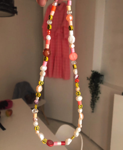 Wald Berlin. Studio B Exclusive Pink Smiley Dude Pearl Necklace.