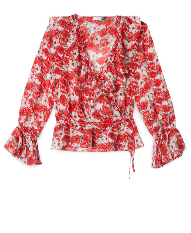 Roisin Red Diana Floral Ruffle Wrap Blouse