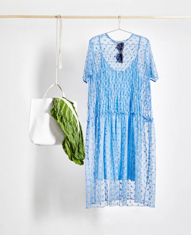 Alaa Blue Spot Polka Dot Sheer Dress