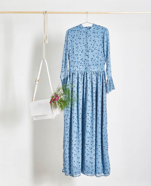 Gestuz - Jeanett Dusky Blue Ditsy Floral Maxi Dress - Studio B Fashion