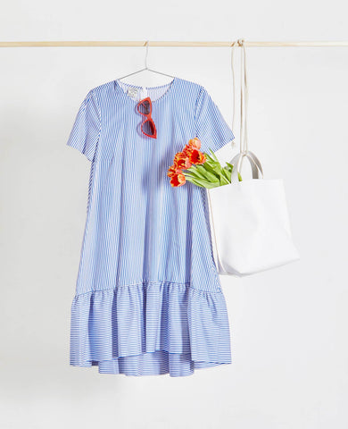 Alberthine Blue White Stripe Oversized Dress