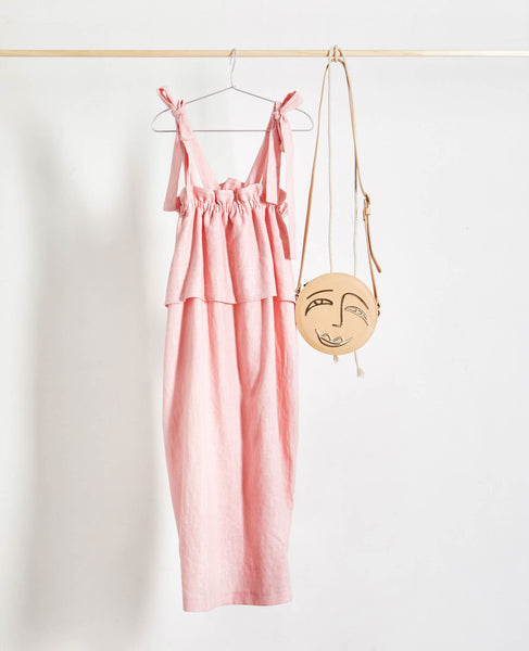 Johanna Sands x Studio B Fashion Exclusive Linen Dress Capsule Collection - Concetta Pink Linen Dress - hanging shot styled with Paradise Row Nude Joy Satchel Handbag