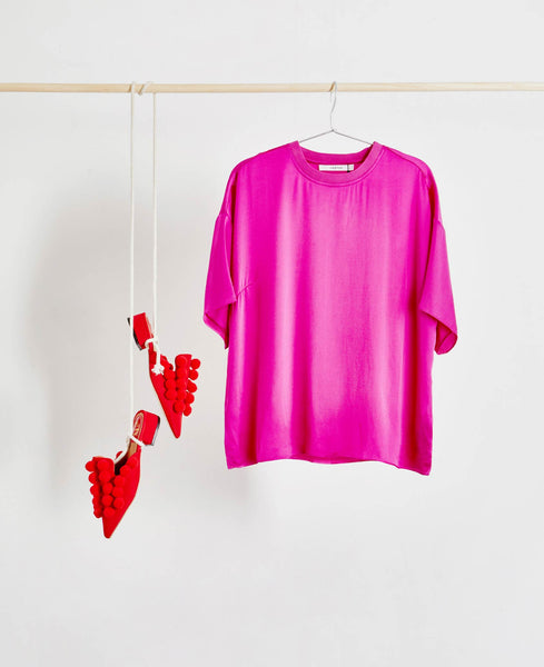 Gestuz - Kennedy Hot Pink Silk T-shirt Top - Studio B Fashion