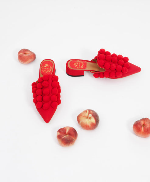 Red Pom Pom Shoes