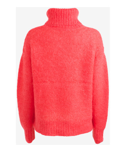 Cecil Hibiscus Red Turtleneck Sweater