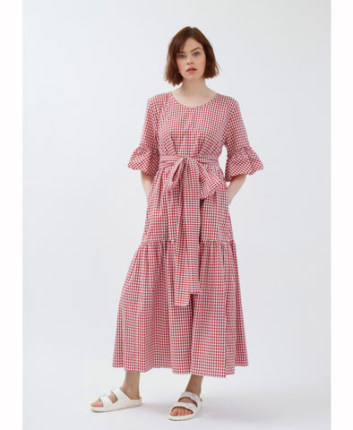 Red Cotton Gingham Primrose Hill Dress