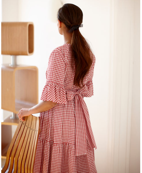 Justine Tabek - Red Gingham Primrose Hill Dress - Studio B Fashion