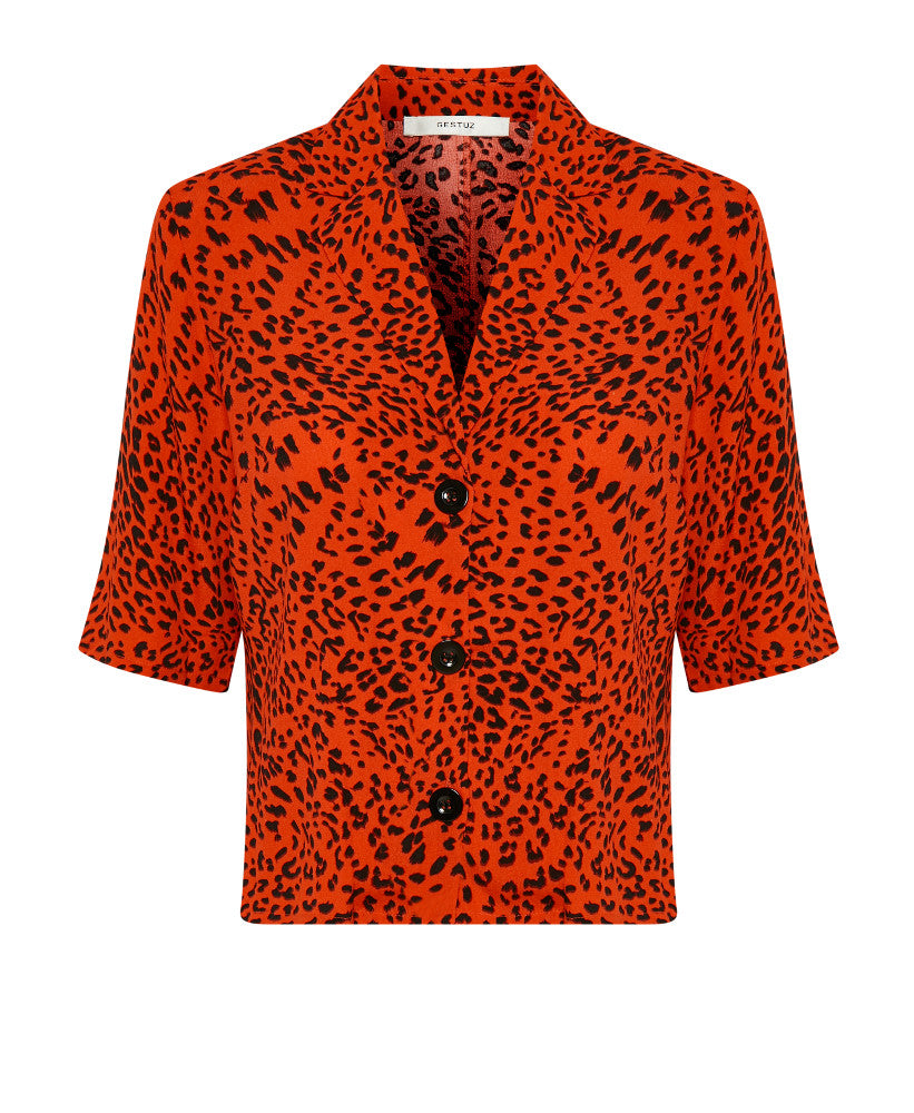 217b52456 Gestuz - Loui Red Leopard Print Button Front Top - Studio B Fashion ...