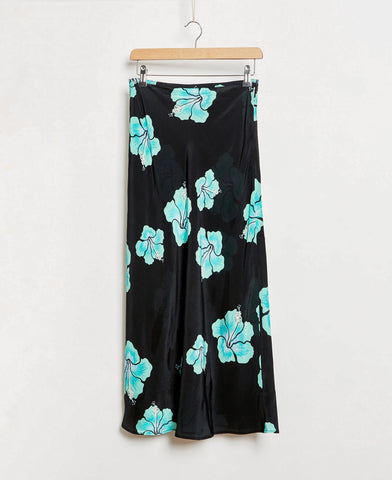 Rixo Kelly Hawaiian Flower Black Mint Skirt