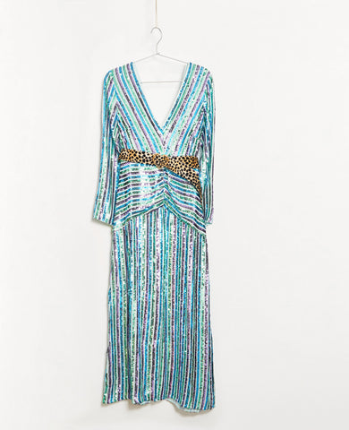 Rixo Emmy Multi Stripe Sequin Midi Dress