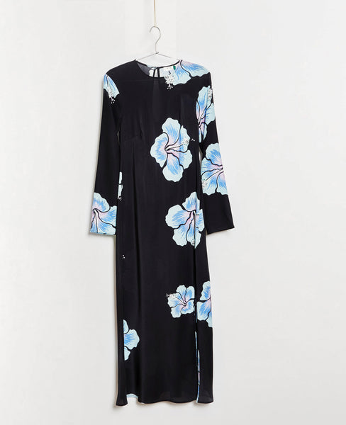 Rixo Amanda Hawaiian Flower Black Blue Midi Dress