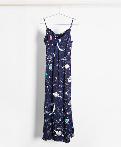 Tessa Cosmic Constellation Silk Cami Midi Dress