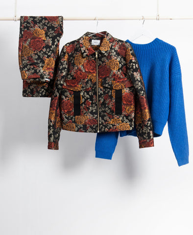 Red Roses Jacquard Jacket Co-ord