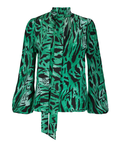 Rixo London - Moss Green Tiger Stripe Necktie Blouse -Studio B Fashion