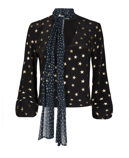 Angie is a black with gold star Rixo blouse with polka dot necktie and long sleeves - Studio B Fashion - Rixo London Angie gold star