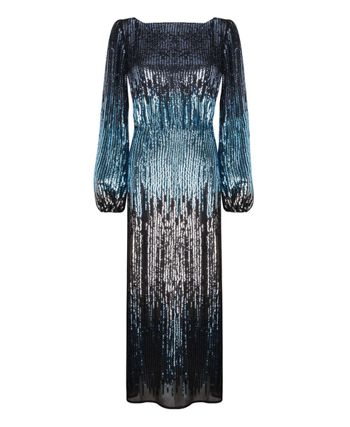 Rixo London - Coco Blue Ombre Sequin Midi Dress - Studio B Fashion