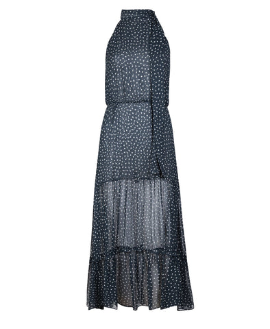 Eleanor Polka Dot Chiffon Halterneck Tiered Dress