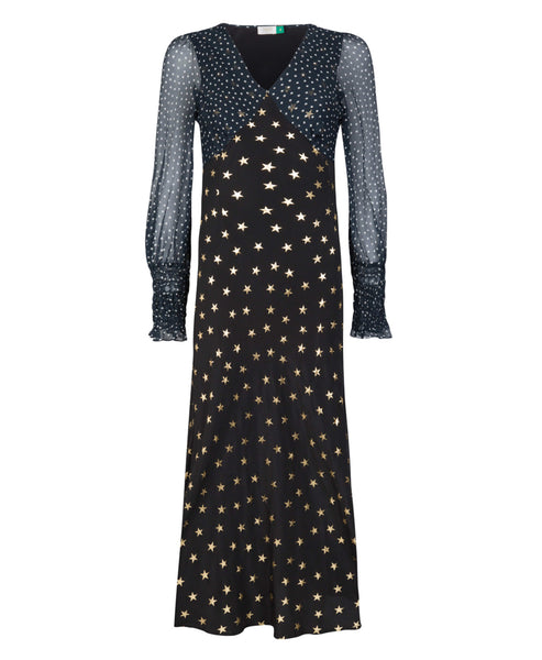 Rixo Erin mixed print star and polka dot black dress with long chiffon sleeves - Studio B Fashion - Rixo London