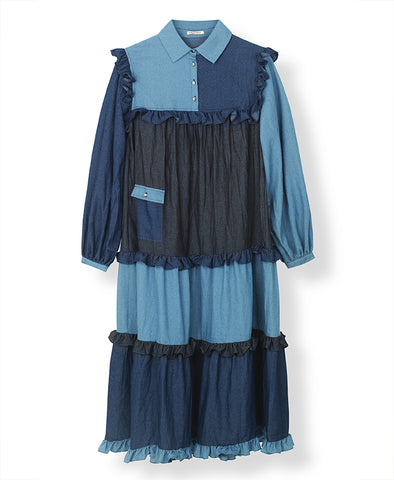 Stella Nova Linnea Denim Dress Blue Mix