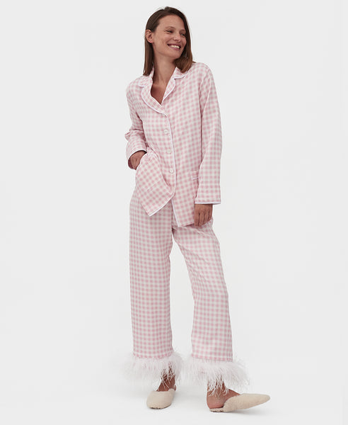 Sleeper. Party Pyjama Set with Feathers in Pink Gingham Pink Vichy. Studio B Fashion