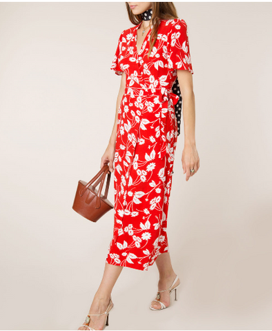 Shauna Abstract Daisy Red Midi Dress