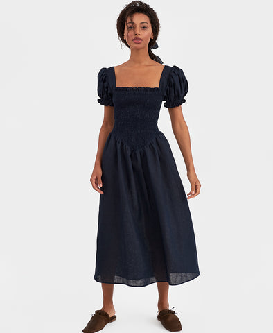 Sleeper Belle Linen Dress in Navy