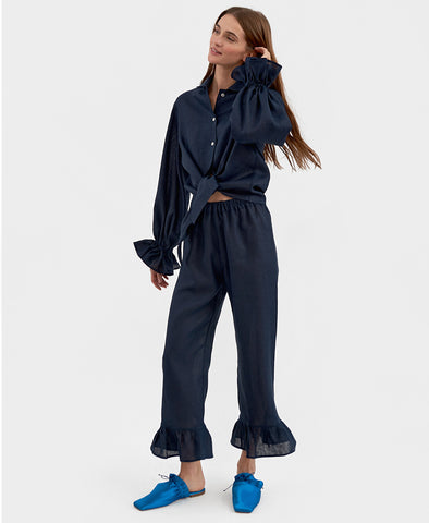 Sleeper Rumba Linen Lounge Suit in Navy