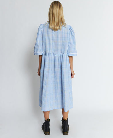 Stella Nova Priel Dress Blue Checks Maxi Collar