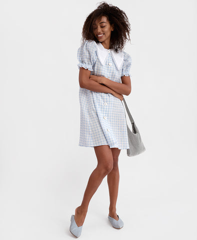 Sleeper Marie Linen Dress in Blue Gingham - detachable collar