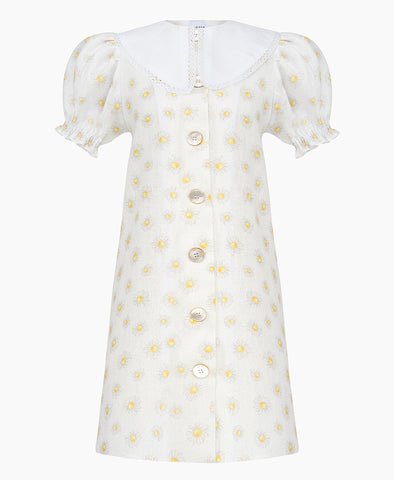 Sleeper Marie Linen Dress in Daisies - detachable collar