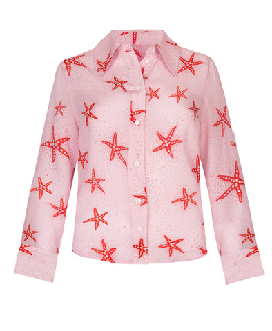 Jamie Starfish Pink Coral Button Down Shirt