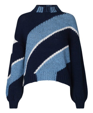Stine Goya Adonis Sweater Diagonal Navy