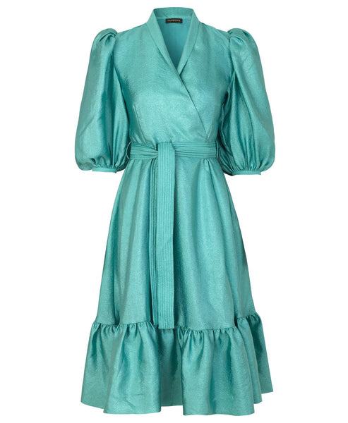 Stine Goya. Chinie Wrap Dress Aqua. Studio B Fashion